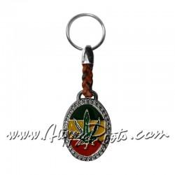 Porta-chaves Folha Cannabis Rasta
