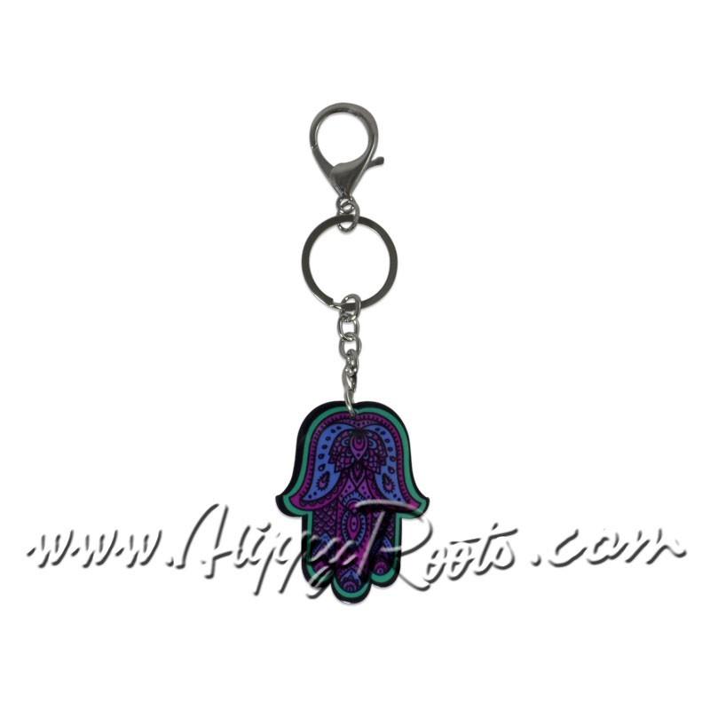 Porta-chaves Hamsa Azul e Lilas