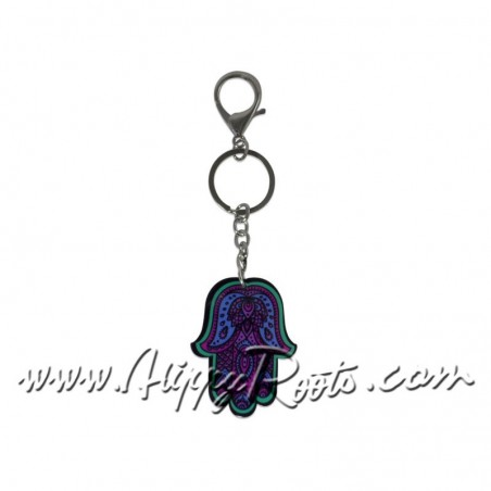 Porta-chaves Hamsa Azul e Lilás