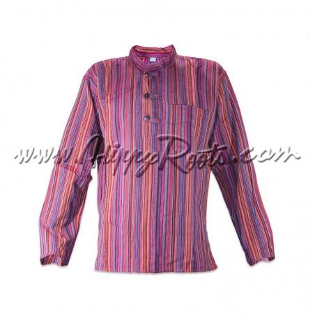 Camisa Listrada Vermelho Claro