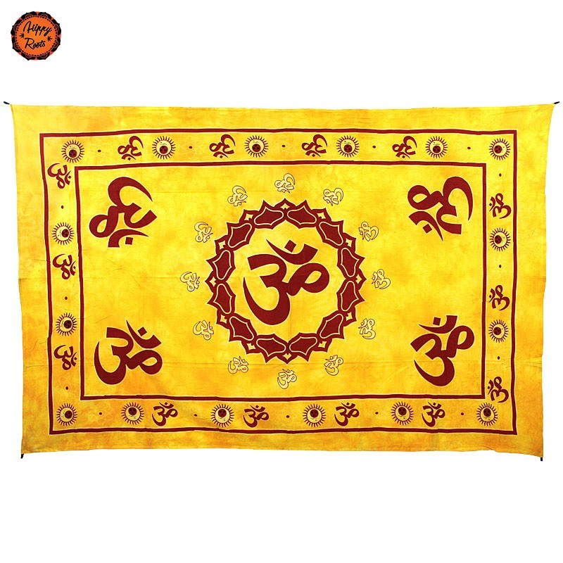 Pano Indiano Om Lotus Amarelo