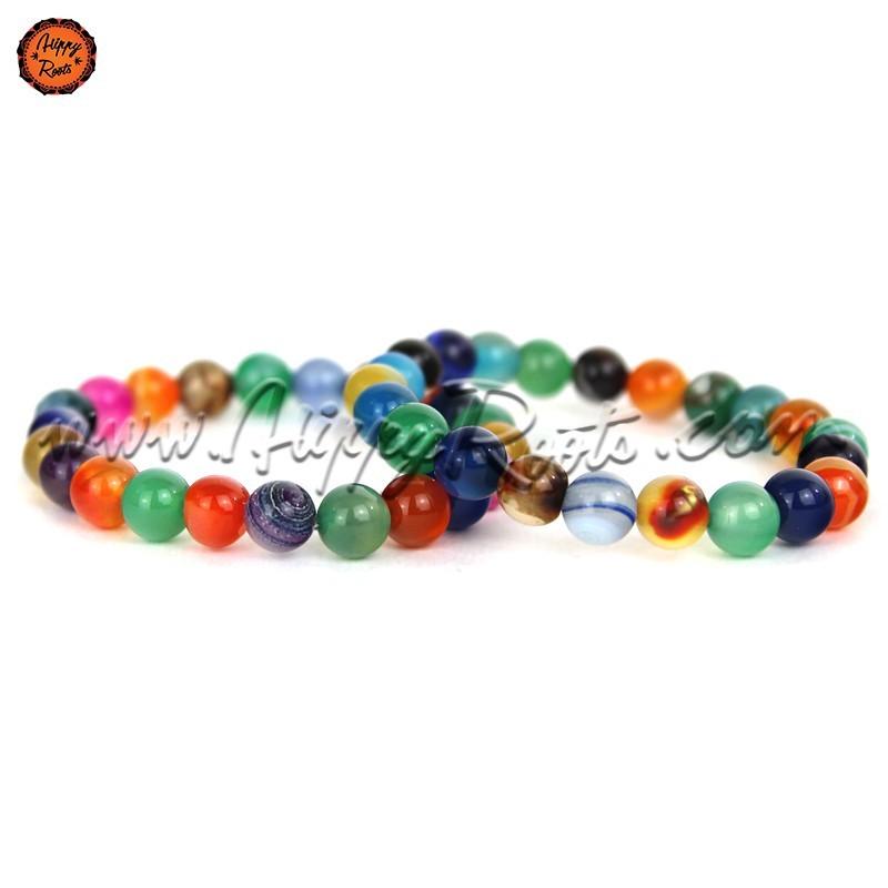 Pulseira Pedras Naturais Agatas Multicolor 8mm