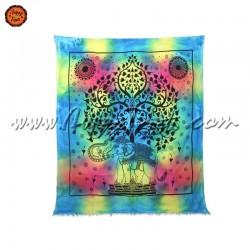 Pano Indiano Tie-Dye Elefante Debaixo Árvore